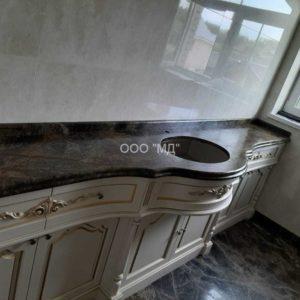 Столешница для ванной из мрамора Dark Emperador